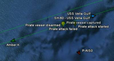 Vessel Interaction. The pirate attack on Amber K was interrupted by a USS Vella Gulf helicopter SH-60.